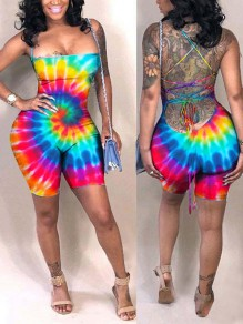 Rainbow Tie Dye Shoulder-Strap Lace-up Bandage Romper Bodysuit Clubwear Beach Short Jumpsuit Pants