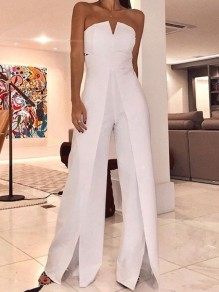 Weiß Cut Out Bandeau High Waist Elegant Lange Jumpsuit Overall