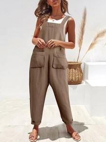 Coffee Pockets Mid-rise Fashion Overall Pants Long Jumpsuit