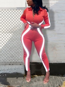 Neon Orange Reflective Zipper Turndown Collar V-neck Long Sleeve Bodysuit Clubwear Party Long Jumpsuits