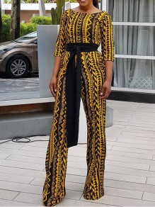 Yellow Geometric Tribal Print Round Neck Elbow Sleeve Long Flare Jumpsuits