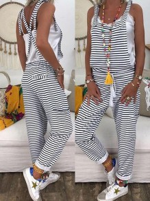 Black Striped Print Drawstring High Waisted Fashion Long Jumpsuit