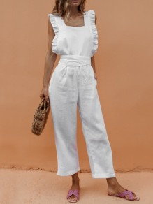 White Ruffle Pockets Sashes Backless High Waisted Long Jumpsuit