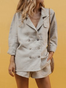 Grey Pockets Double Breasted Lapelless Two Piece Short Jumpsuit