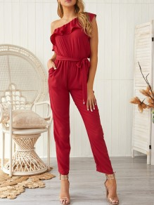 Wine Red Ruffle Sashes Pockets Asymmetric Shoulder High Waisted Long Jumpsuit
