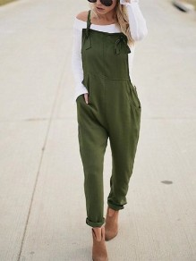 Army Green Patchwork Pockets Shoulder-Strap Fashion Long Jumpsuit