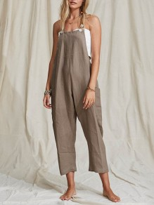 Brown Pockets Buttons Mid-rise Fashion Overall Pants Long Jumpsuit