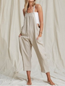 Beige Pockets Buttons Mid-rise Fashion Overall Pants Long Jumpsuit