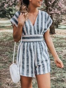 Grey White Striped Print Sashes Bow High Waisted Short Jumpsuit