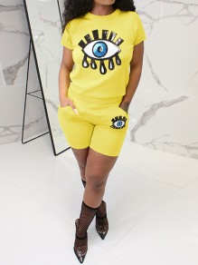 Neon Yellow Pockets Sequin Devil's Eye Print Glitter High Waisted Sparkly Sports Short Jumpsuit