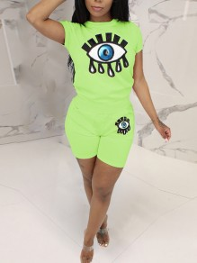 Neon Green Pockets Sequin Devil's Eye Print Glitter High Waisted Sparkly Sports Short Jumpsuit