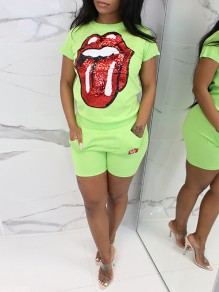 Neon Green Pockets Sequin Rolling Stone Glitter High Waisted Sparkly Sports Short Jumpsuit