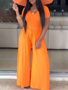Neon Orange Rundhals Kurzarm Big Flare Bell Bottom Beach Lässige Jumpsuits