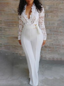 White Patchwork Lace Cut Out Belt V-neck Long Sleeve 2-in-1 Flare Work Long Jumpsuits