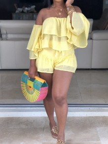 Neon Yellow Cascading Ruffle Off Shoulder Ruffle Sleeve 2-in-1 Casual Short Jumpsuits