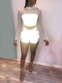 White Grenadine Parchwork Reflective Long Sleeve Two Piece Bodysuit Clubwear Short Jumpsuits