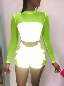 Neon Green Grenadine Parchwork Reflective Long Sleeve Two Piece Bodysuit Clubwear Short Jumpsuits