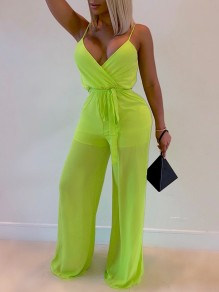 Neon Green Patchwork Grenadine Sheer Shoulder-Strap V-neck Belt Lace-up Wide Leg Clubwear Long Casual Jumpsuits
