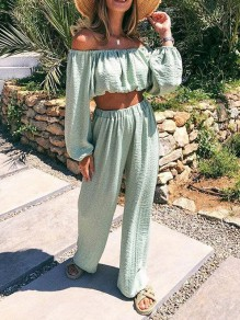 Light Green Bandeau Two Piece High Waisted Bohemian Long Jumpsuit