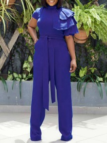 Blue Belt Lace-up Layers Of Ruffle Sleeve Wide Leg Work Casual Long Jumpsuits