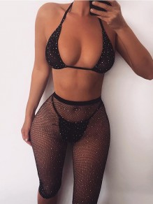 Black Rhinestone Lingerie Two Piece High Waisted Mesh Fishnet Pants With Rhinestone Bikini Cover Up Shimmer Biker Five's Party Jumpsuits