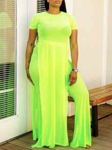 Neon Green Grenadine Sheer Round Neck Short Sleeve Double Slit Two Piece High Waisted Bikini Cover Up Flare Long Jumpsuits