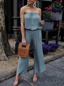Blue Bandeau High Waisted Fashion Wide Leg Long Jumpsuit