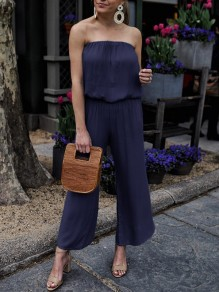 Navy Blue Bandeau High Waisted Fashion Wide Leg Long Jumpsuit