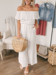 White Striped Print Ruffle Pockets High Waisted Wide Leg Long Jumpsuit