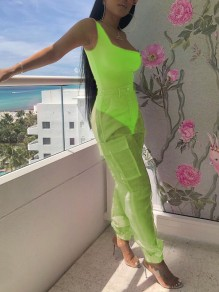Neon Yellow Shoulder-Strap U-neck One-Piece 2-in-1 Grenadine Sheer Pockets Buttons High Waisted Casual Long Cargo Jumpsuit