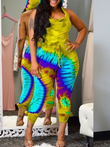 Yellow-Green Gradient color Bleach Band Print Hooded Sleeveless Backless Long Jumpsuit