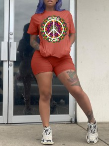 "Red ""LOVE PEACE"" Pattern Print Round Neck Short Sleeve Sports Casual Short Jumpsuit"