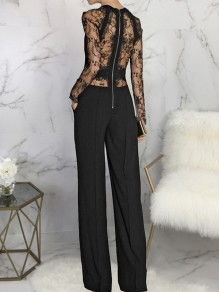 Black Patchwork Zipper Lace Cut Out Sheer Round Neck Long Sleeve Palazzo Pants Work Formal Long Jumpsuit