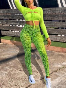 Neon Green Cut Out Drawstring V-neck Long Sleeve 2-in-1 Leopard Print Clubwear High Waisted Sports Long Jumpsuit