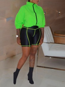 Neon Green Zipper Patchwork High Neck Long Sleeve Outwear Two Piece High Waisted Push Up Big Booty Sports Suit Five's Jumpsuit