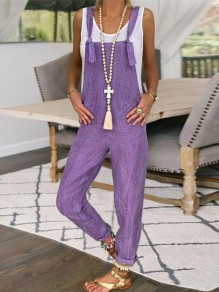 Purple Pockets High Waisted Fashion Overall Pants Long Jumpsuit