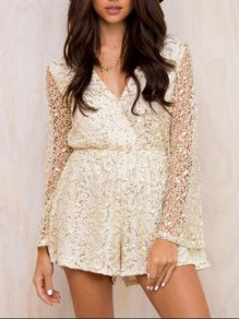 Beige Patchwork Lace Bright Wire Bodycon Sequin Party Jumpsuit