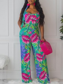 Green Shoulder-Strap Boohoo Palm Leaves Print Pockets Belt Round Neck Sleeveless Long Palazzo Jumpsuit
