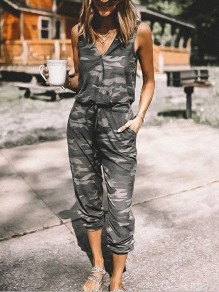 Army Green Camouflage Pockets Drawstring High Waisted Long Jumpsuit