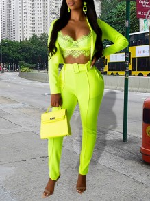 Neon Green Belt Pockets Tailored Collar V-neck Long Sleeve Blazer Two Piece Suit Set High Waisted Long Jumpsuit