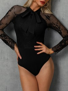 Black Patchwork Lace One Piece Long Sleeve Going out Short Jumpsuit