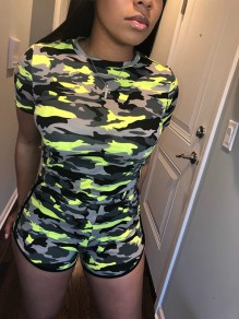 Neon Yellow Camouflage Print Round Neck Short Sleeve Two Piece Sports Short Jumpsuit