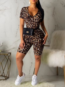 Brown Leopard Print V-neck Short Sleeve High Waisted Two Piece Bodysuit Clubwear Short Jumpsuit