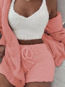Pink Belt Lace-up Long Sleeve Two Piece Fluffy Pajamas Sleepwear Cute Short Jumpsuit
