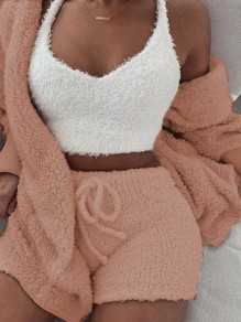 Light Pink Belt Lace-up Long Sleeve Two Piece Fluffy Pajamas Sleepwear Cute Short Jumpsuit