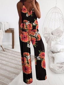 Black-Orange Sunflowers Print Drawstring Spaghetti Strap Palazzo Wide Leg Long Jumpsuit