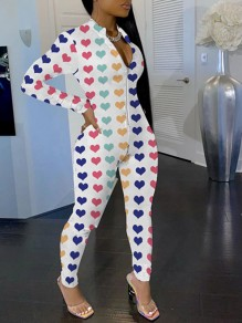 White Zipper Colorful Love Heart Print V-neck Long Sleeve Bodysuit Pajama Long Jumpsuit