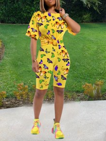 Yellow Butterfly Print Two Piece Casual High Waisted Short Jumpsuit