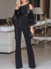 Black Cut Out Asymmetric Shoulder Lantern Sleeve Elegant Party Wide Leg Long Jumpsuit