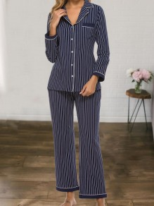 Navy Blue Striped Single Breasted Long Sleeve Long Pajama Sets Sleepwear Jumpsuit